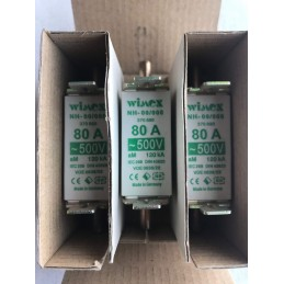 3 PEZZI WIMEX FUSIBILE LAMELLARE NH00/000 80A 500V AC 120KA COD. 550.5080