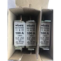 3 PEZZI WIMEX FUSIBILE LAMELLARE NH00/000 100A 500V AC 120KA COD. 550.0081