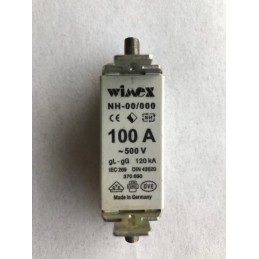 1 PZ. WIMEX FUSIBILE LAMELLARE NH-00/000 100A 500V 120kA COD 370690